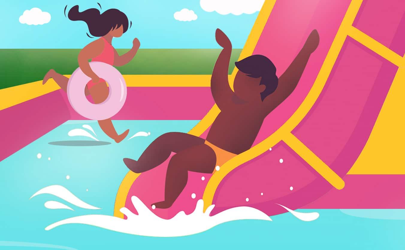 Un dessin d'enfants dans un toboggan aquatique